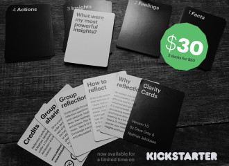 Photo of the Clarity Cards created by Mathias Jakobsen (Think Clearly) and Dave Gray (Xplane) is a deck of cards with reflection questions that helps you learn individually and as a group.